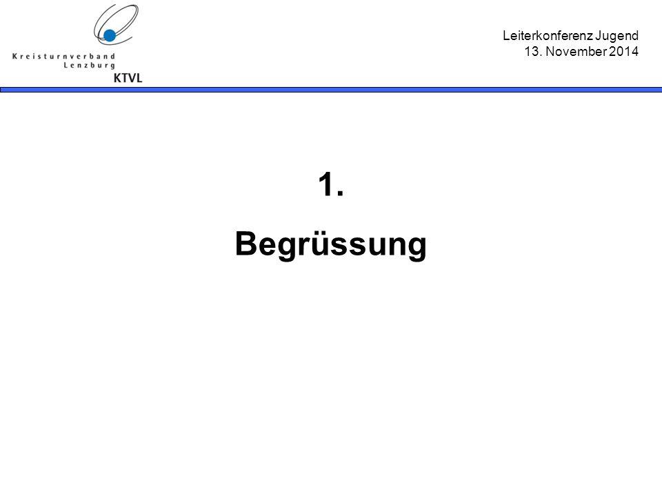 Leiterkonferenz Jugend 13. November 2014 1. Begrüssung