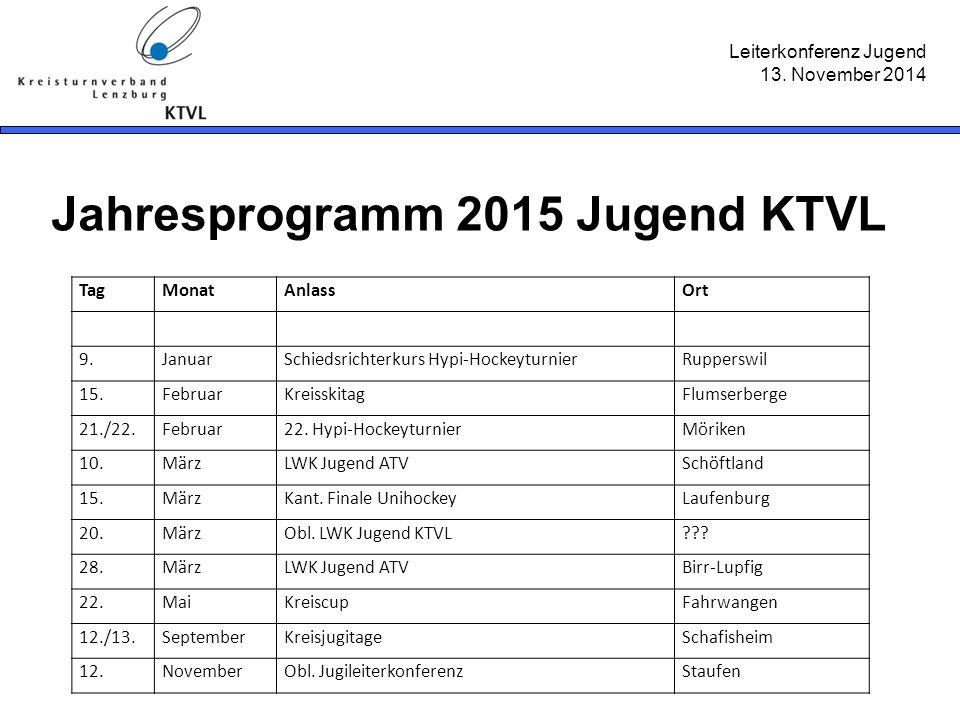 Leiterkonferenz Jugend 13. November 2014 Jahresprogramm 2015 Jugend KTVL TagMonatAnlassOrt 9.JanuarSchiedsrichterkurs Hypi-HockeyturnierRupperswil 15.