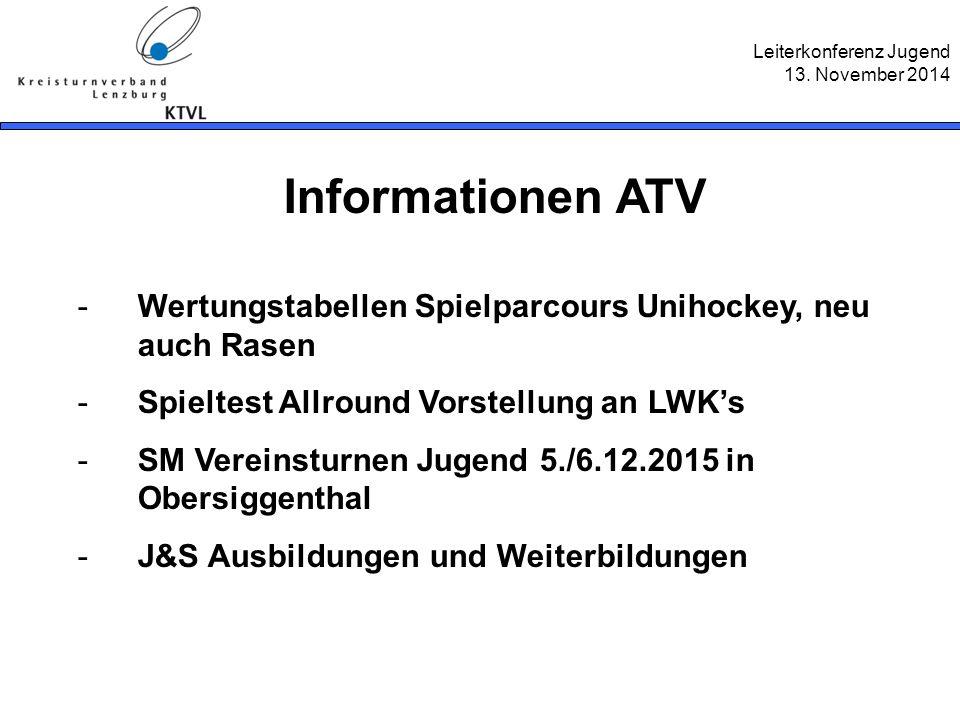 Leiterkonferenz Jugend 13. November 2014 Informationen ATV -Wertungstabellen Spielparcours Unihockey, neu auch Rasen -Spieltest Allround Vorstellung a