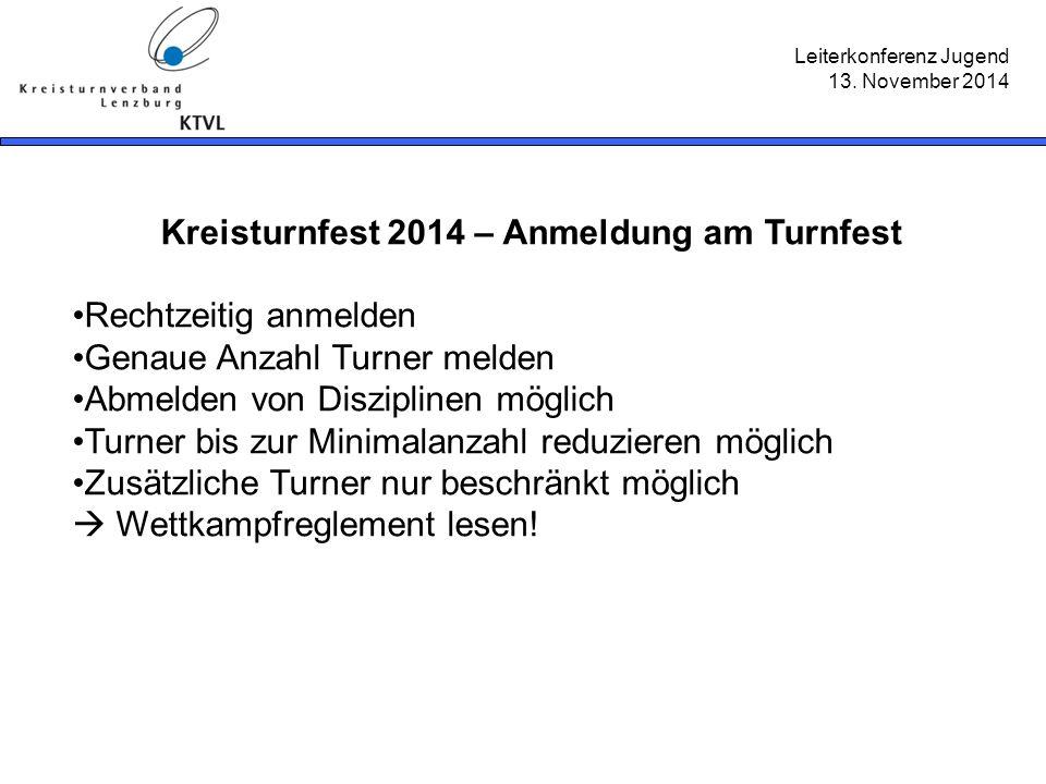 Leiterkonferenz Jugend 13. November 2014 Kreisturnfest 2014 – Anmeldung am Turnfest Rechtzeitig anmelden Genaue Anzahl Turner melden Abmelden von Disz