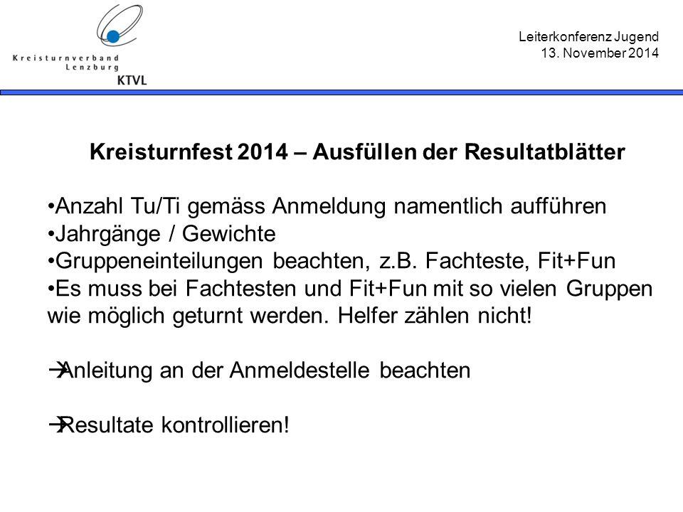 Leiterkonferenz Jugend 13. November 2014 Kreisturnfest 2014 – Ausfüllen der Resultatblätter Anzahl Tu/Ti gemäss Anmeldung namentlich aufführen Jahrgän