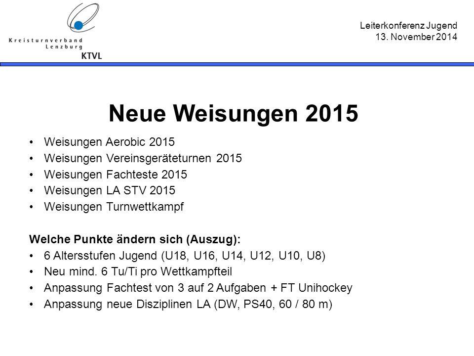 Leiterkonferenz Jugend 13. November 2014 Neue Weisungen 2015 Weisungen Aerobic 2015 Weisungen Vereinsgeräteturnen 2015 Weisungen Fachteste 2015 Weisun