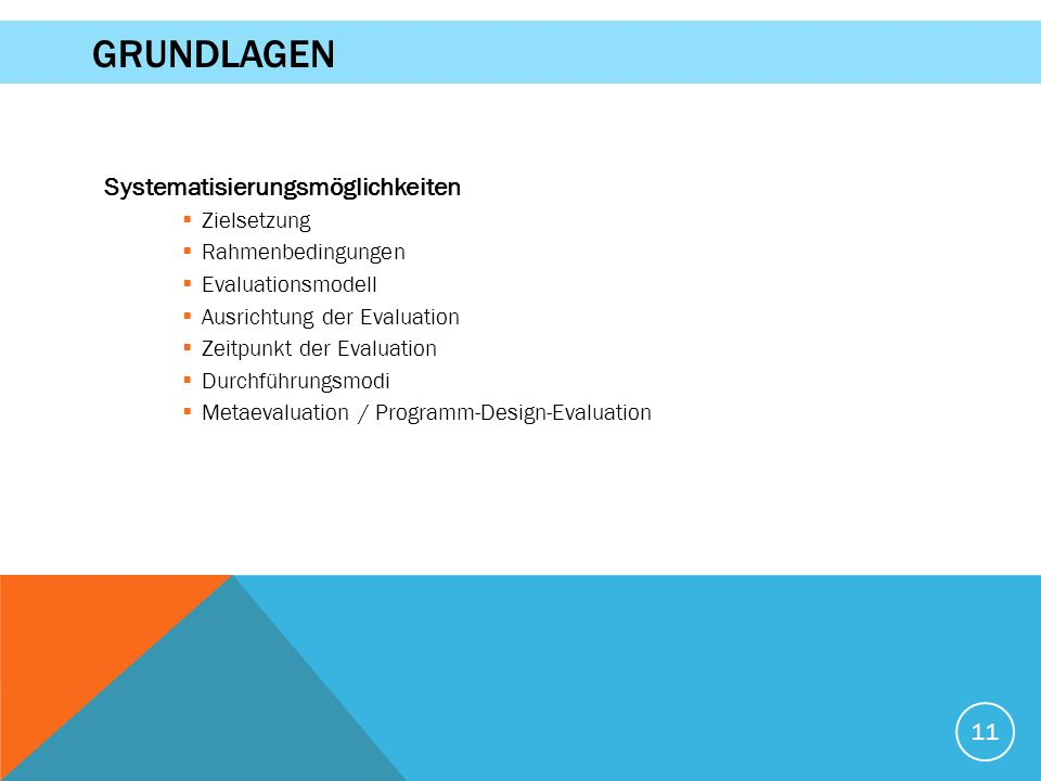 Systematisierungsmöglichkeiten  Zielsetzung  Rahmenbedingungen  Evaluationsmodell  Ausrichtung der Evaluation  Zeitpunkt der Evaluation  Durchführungsmodi  Metaevaluation / Programm-Design-Evaluation 11 GRUNDLAGEN