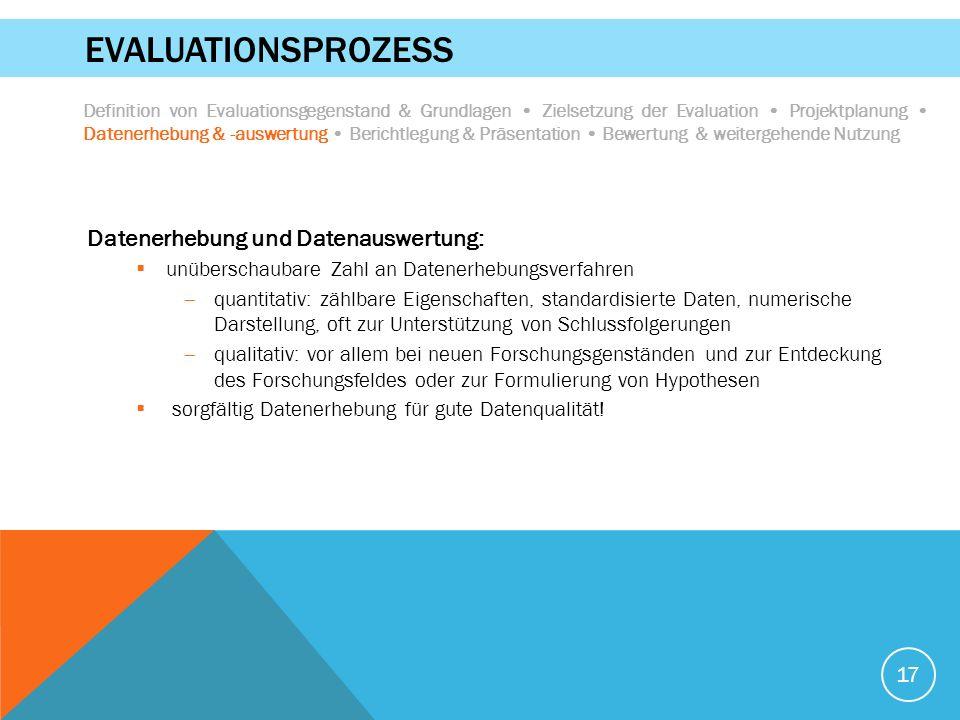 17 EVALUATIONSPROZESS Datenerhebung und Datenauswertung:  unüberschaubare Zahl an Datenerhebungsverfahren  quantitativ: zählbare Eigenschaften, stan