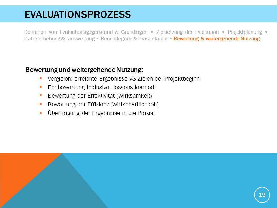"""19 EVALUATIONSPROZESS Bewertung und weitergehende Nutzung:  Vergleich: erreichte Ergebnisse VS Zielen bei Projektbeginn  Endbewertung inklusive """"les"""
