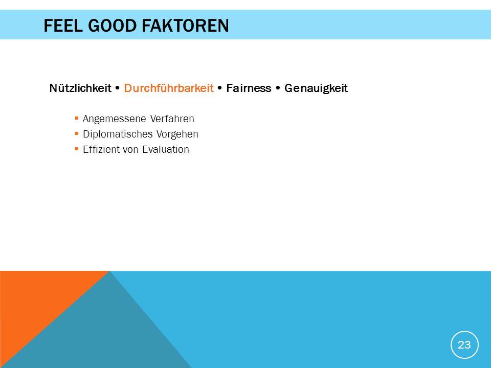 Nützlichkeit Durchführbarkeit Fairness Genauigkeit  Angemessene Verfahren  Diplomatisches Vorgehen  Effizient von Evaluation 23 FEEL GOOD FAKTOREN