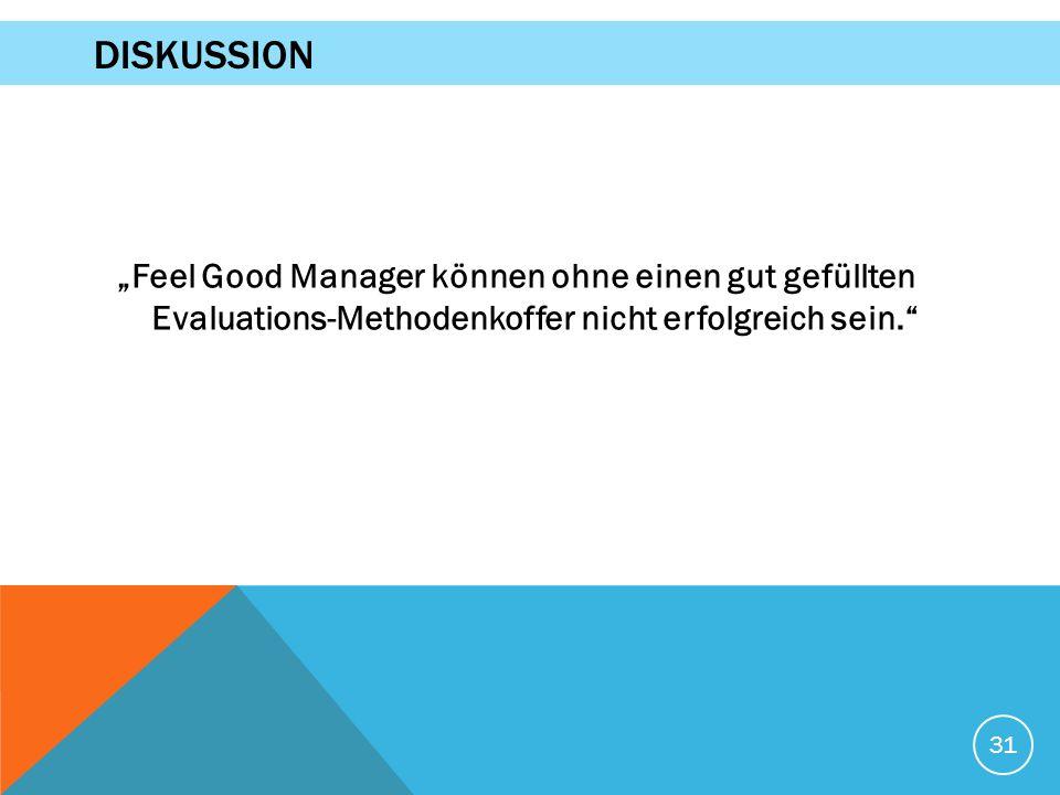 """""""Feel Good Manager können ohne einen gut gefüllten Evaluations-Methodenkoffer nicht erfolgreich sein."""" 31 DISKUSSION"""