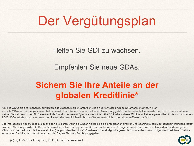 (c) by HaWo Holding Inc., 2015, All rights reserved Der Vergütungsplan Helfen Sie GDI zu wachsen.