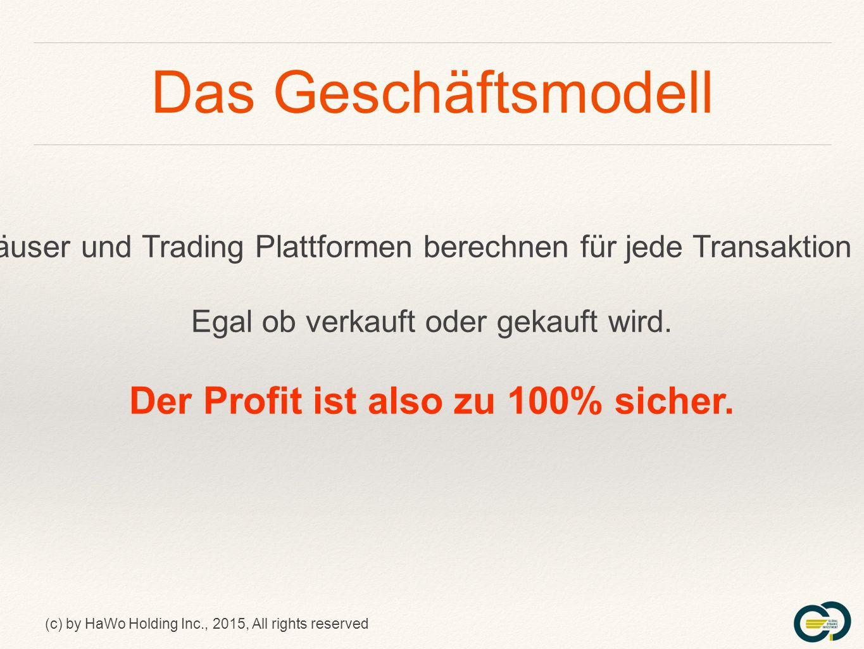(c) by HaWo Holding Inc., 2015, All rights reserved Der Vergütungsplan Der dritte Pool ++= ca.