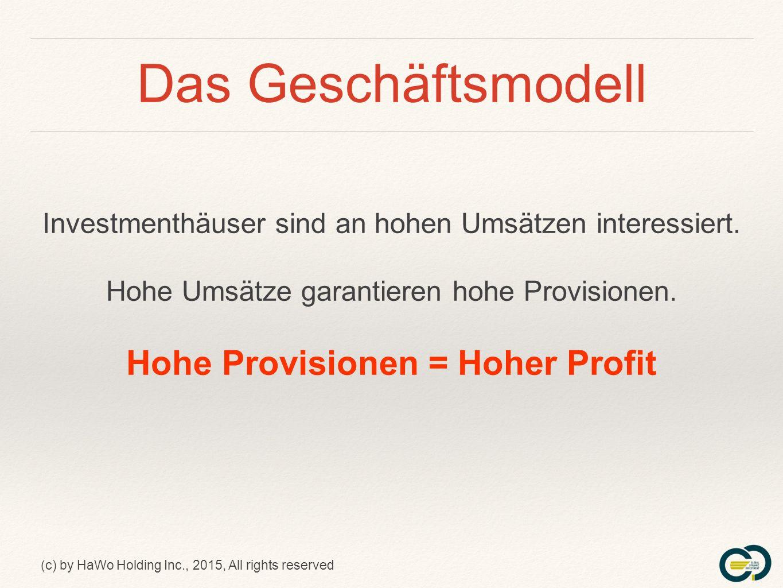 (c) by HaWo Holding Inc., 2015, All rights reserved Der Vergütungsplan Der vierte Pool ++= ca.