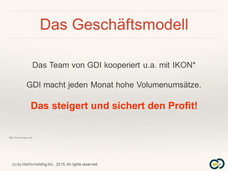 (c) by HaWo Holding Inc., 2015, All rights reserved Das Geschäftsmodell Das Team von GDI kooperiert u.a.