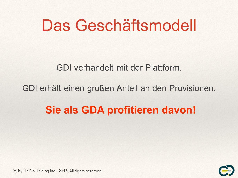 (c) by HaWo Holding Inc., 2015, All rights reserved Das Geschäftsmodell GDI verhandelt mit der Plattform.