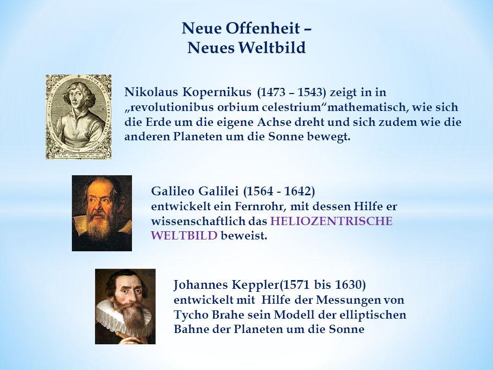 Neue Offenheit – Neues Weltbild Galileo Galilei (1564 - 1642) entwickelt ein Fernrohr, mit dessen Hilfe er wissenschaftlich das HELIOZENTRISCHE WELTBILD beweist.