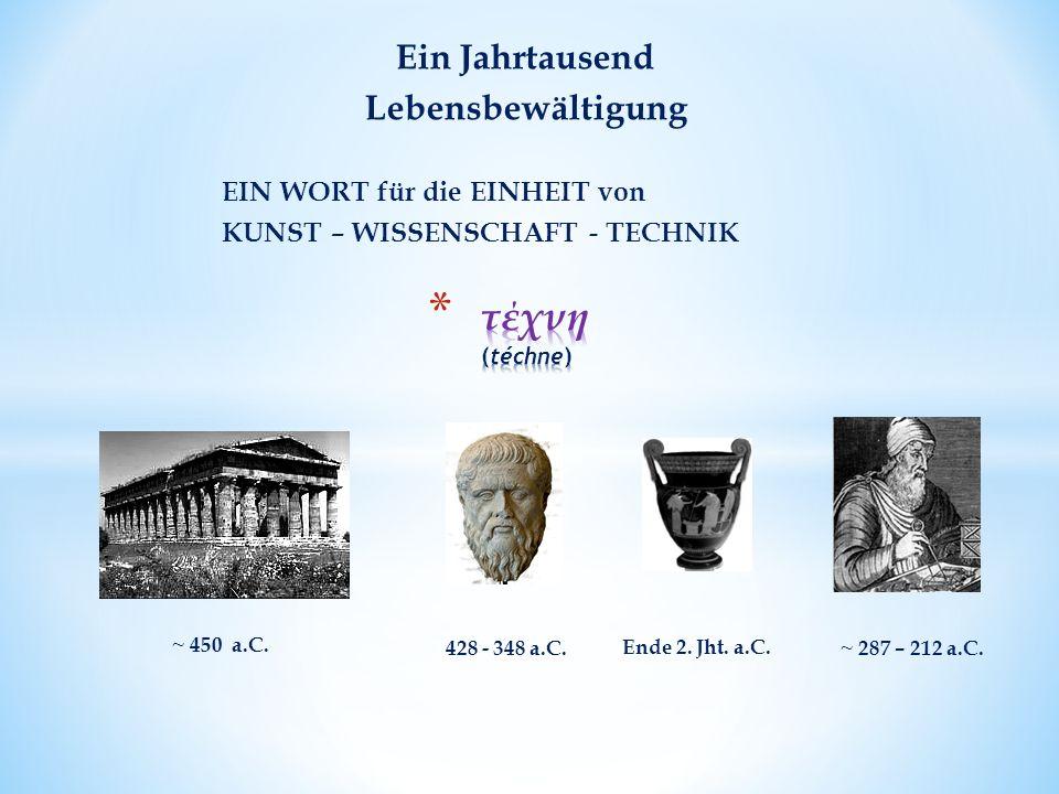 EIN WORT für die EINHEIT von KUNST – WISSENSCHAFT - TECHNIK ~ 287 – 212 a.C.