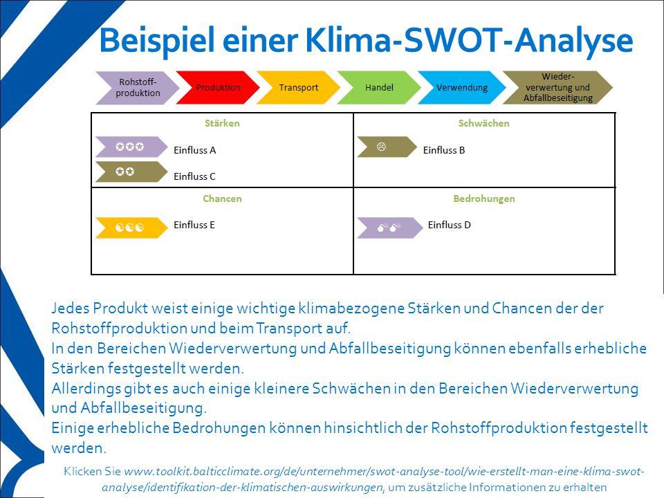 12 Beispiel einer Klima-SWOT-Analyse Jedes Produkt weist einige wichtige klimabezogene Stärken und Chancen der der Rohstoffproduktion und beim Transpo