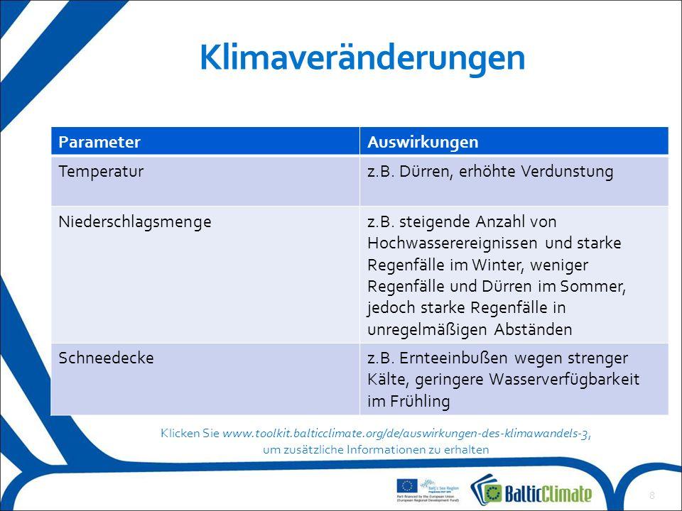 8 Klimaveränderungen ParameterAuswirkungen Temperaturz.B.