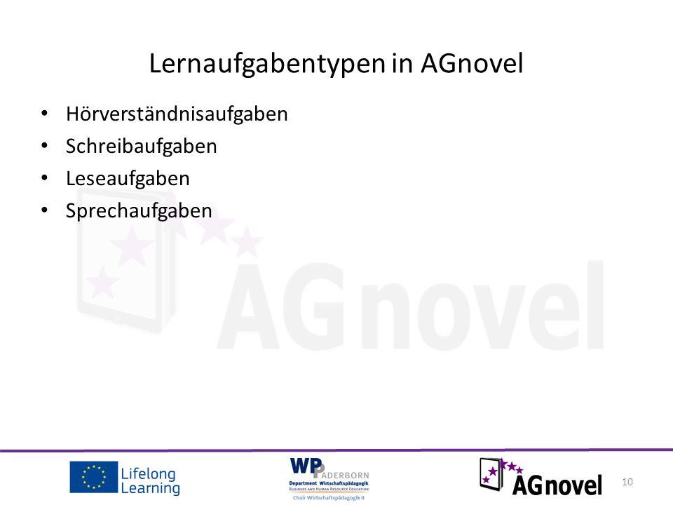 Hörverständnisaufgaben Schreibaufgaben Leseaufgaben Sprechaufgaben 10 Lernaufgabentypen in AGnovel