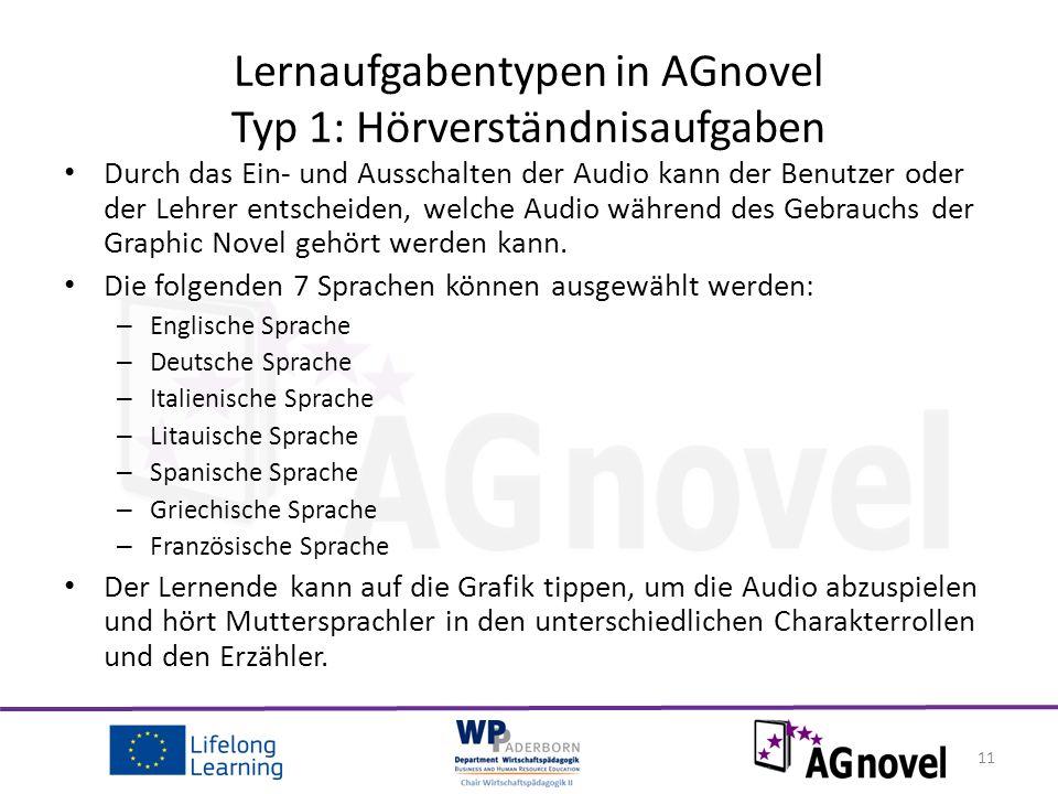 Durch das Ein- und Ausschalten der Audio kann der Benutzer oder der Lehrer entscheiden, welche Audio während des Gebrauchs der Graphic Novel gehört werden kann.