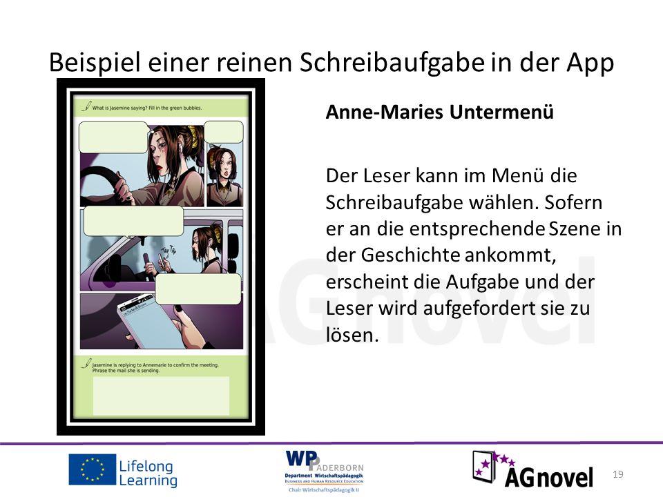 Anne-Maries Untermenü Der Leser kann im Menü die Schreibaufgabe wählen.