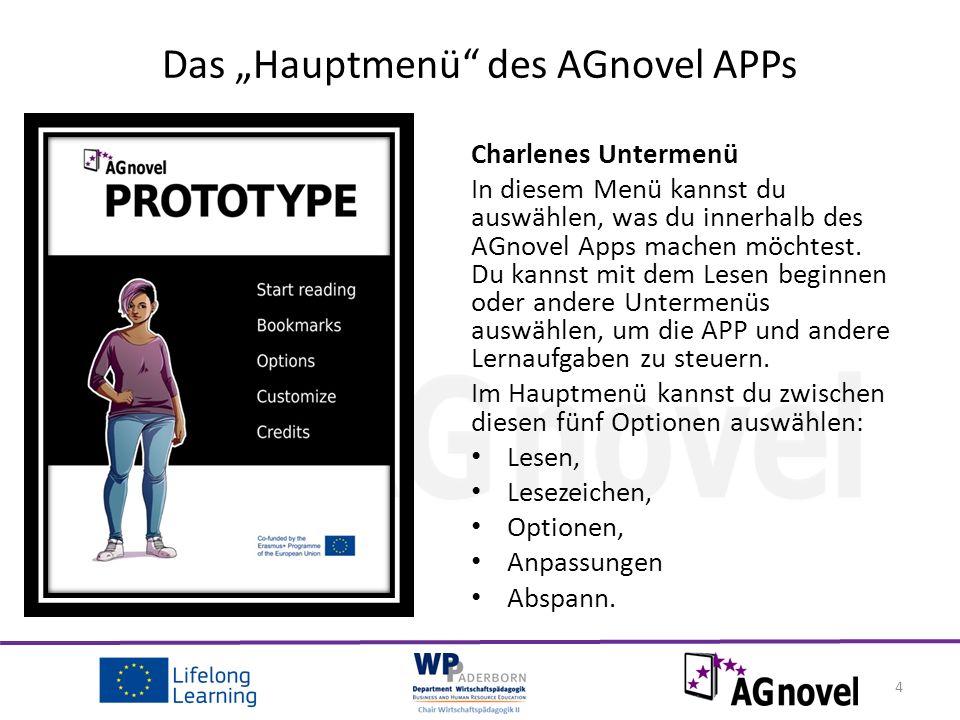 Charlenes Untermenü In diesem Menü kannst du auswählen, was du innerhalb des AGnovel Apps machen möchtest.
