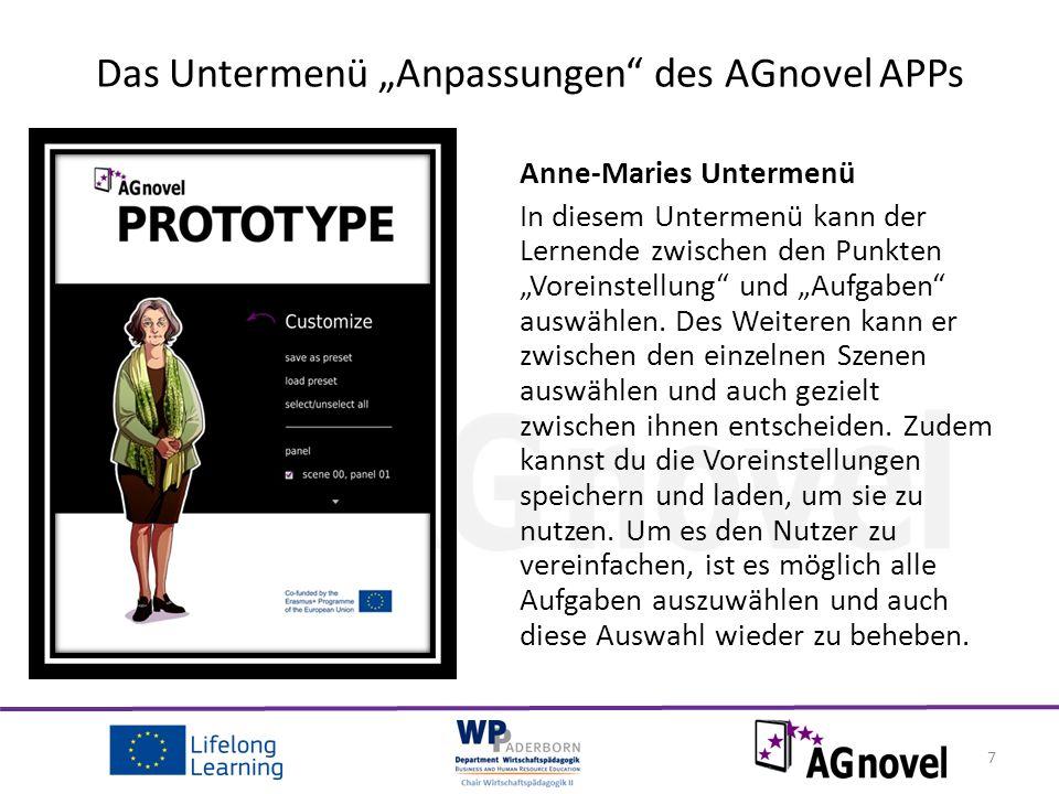 """Anne-Maries Untermenü In diesem Untermenü kann der Lernende zwischen den Punkten """"Voreinstellung und """"Aufgaben auswählen."""