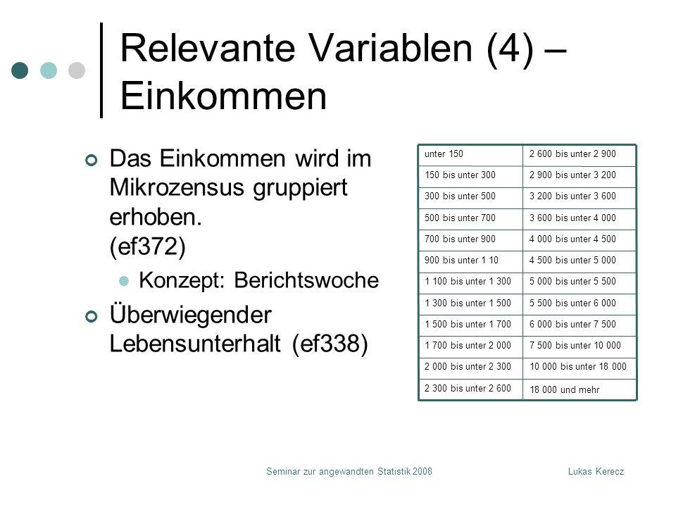 Lukas KereczSeminar zur angewandten Statistik 2008 Relevante Variablen (4) – Einkommen Das Einkommen wird im Mikrozensus gruppiert erhoben.