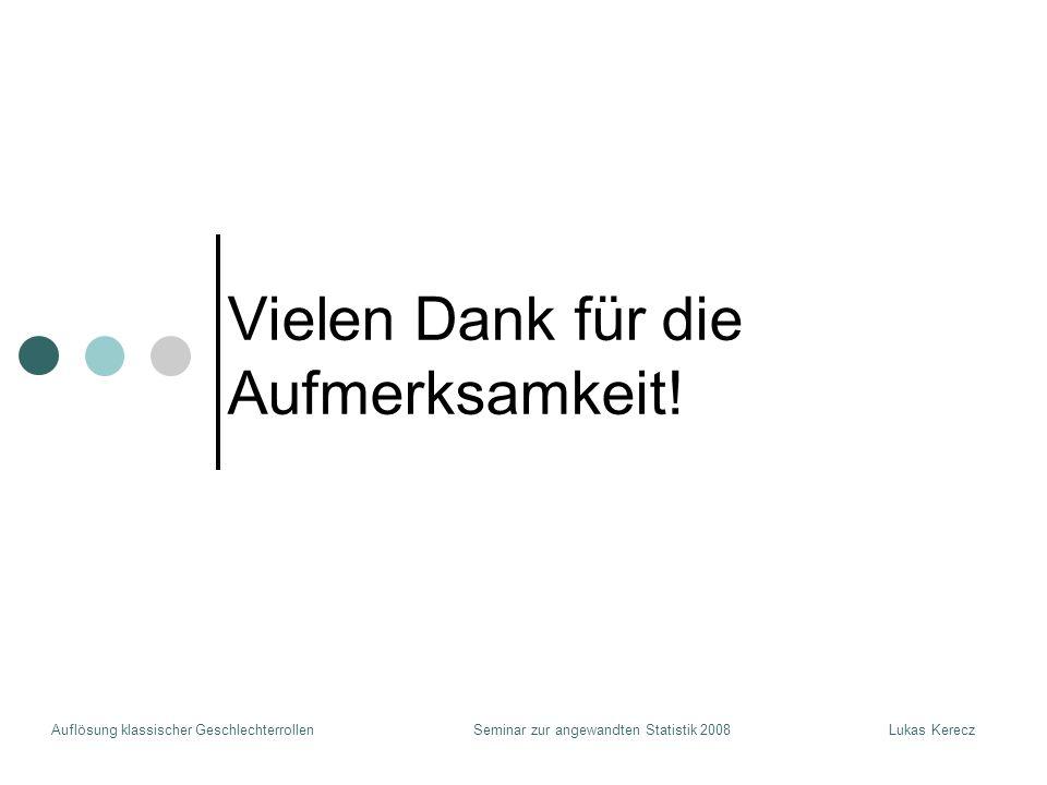 Auflösung klassischer GeschlechterrollenLukas KereczSeminar zur angewandten Statistik 2008 Vielen Dank für die Aufmerksamkeit!