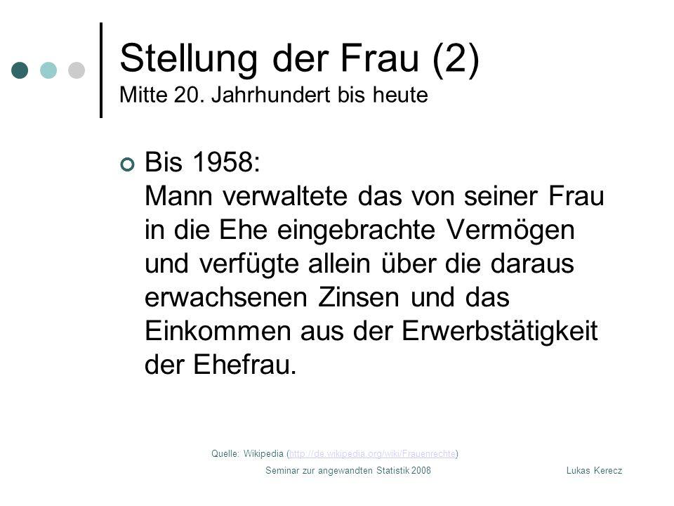 Lukas KereczSeminar zur angewandten Statistik 2008 Stellung der Frau (3) Mitte 20.
