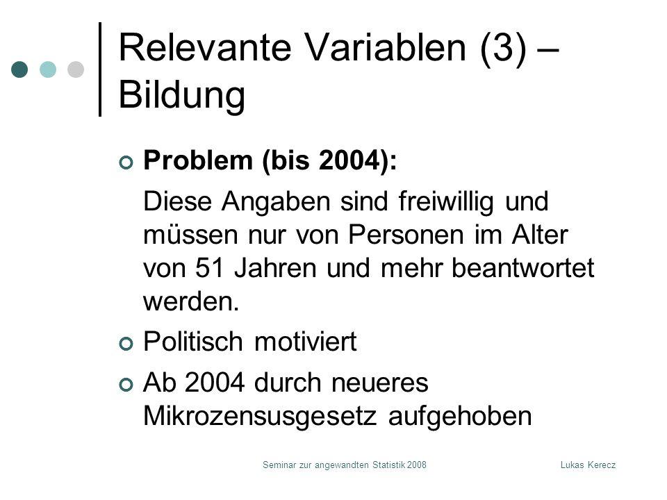 Lukas KereczSeminar zur angewandten Statistik 2008 Relevante Variablen (3) – Bildung Problem (bis 2004): Diese Angaben sind freiwillig und müssen nur von Personen im Alter von 51 Jahren und mehr beantwortet werden.