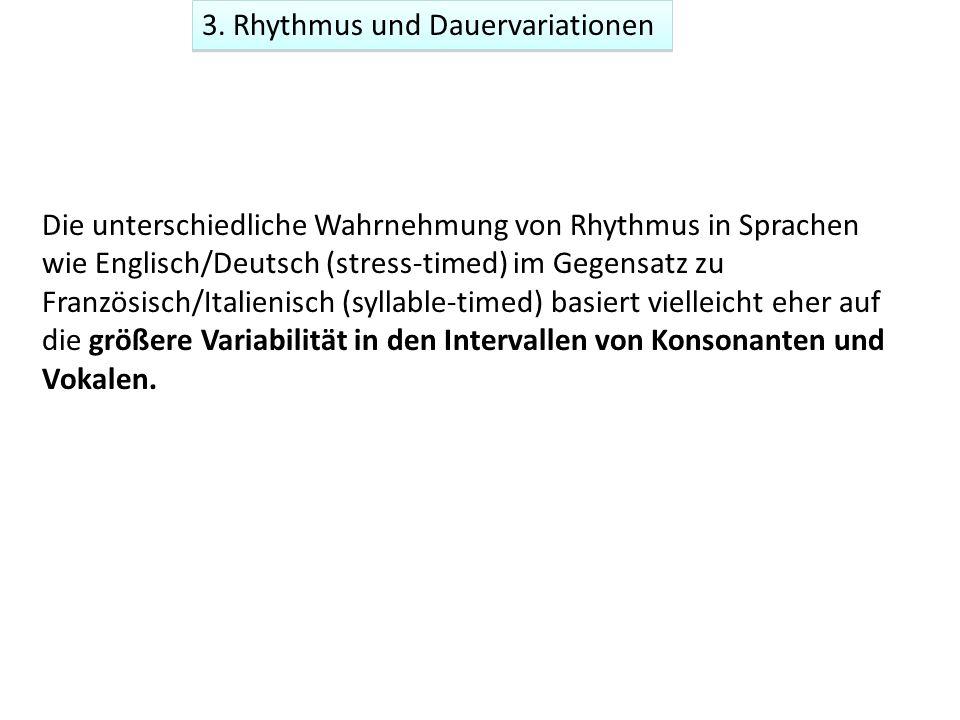 3. Rhythmus und Dauervariationen Die unterschiedliche Wahrnehmung von Rhythmus in Sprachen wie Englisch/Deutsch (stress-timed) im Gegensatz zu Französ