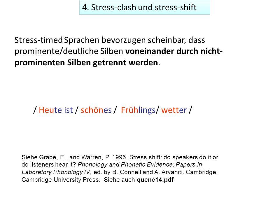 / Heute ist / schönes / Frühlings/ wetter / Stress-timed Sprachen bevorzugen scheinbar, dass prominente/deutliche Silben voneinander durch nicht- prominenten Silben getrennt werden.