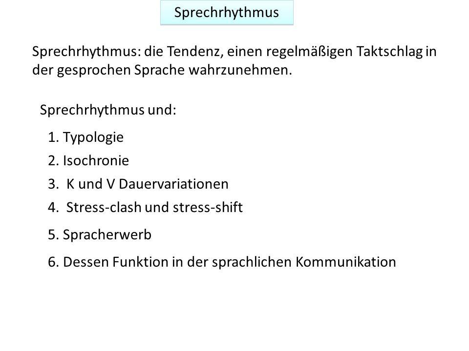 Sprechrhythmus 2. Isochronie 3. K und V Dauervariationen 1. Typologie 5. Spracherwerb 6. Dessen Funktion in der sprachlichen Kommunikation Sprechrhyth