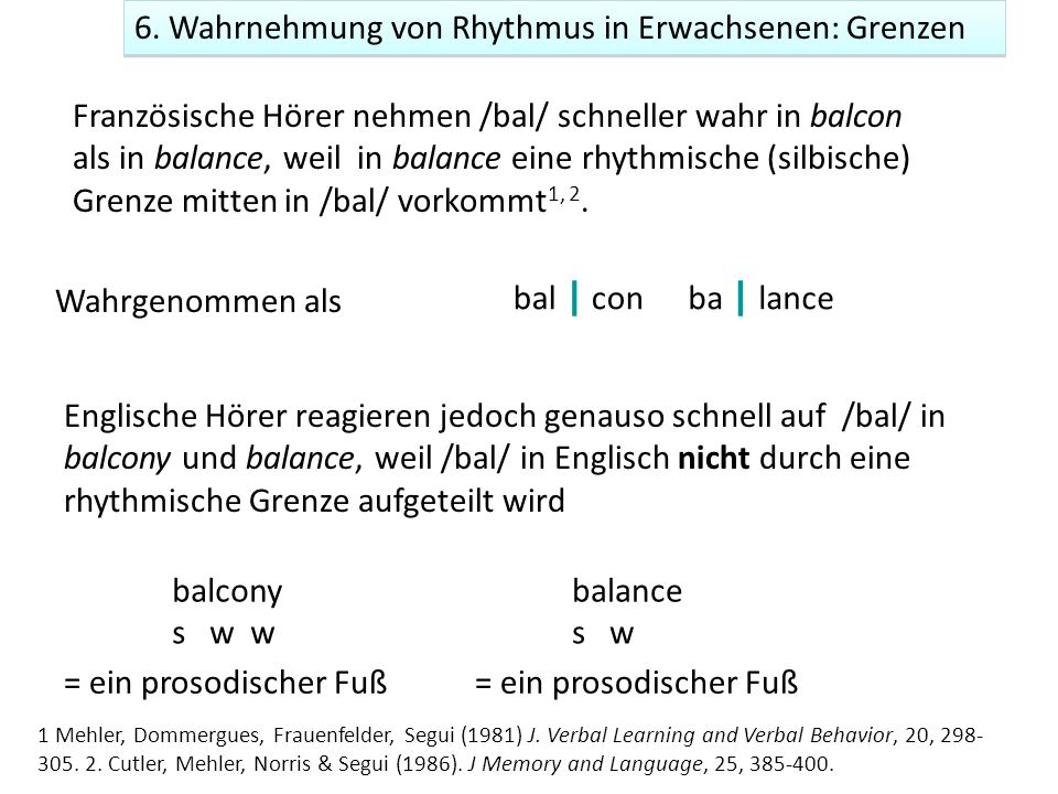 Französische Hörer nehmen /bal/ schneller wahr in balcon als in balance, weil in balance eine rhythmische (silbische) Grenze mitten in /bal/ vorkommt 1, 2.