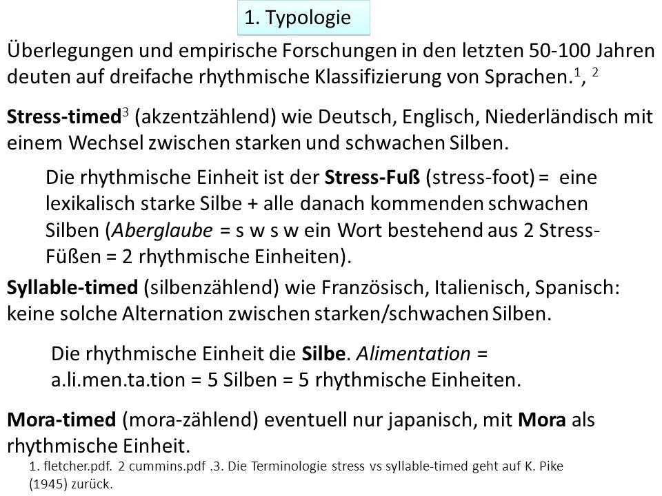 1. Typologie Überlegungen und empirische Forschungen in den letzten 50-100 Jahren deuten auf dreifache rhythmische Klassifizierung von Sprachen. 1, 2