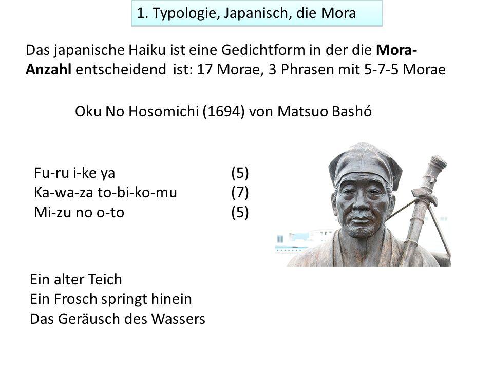 Oku No Hosomichi (1694) von Matsuo Bashó Fu-ru i-ke ya (5) Ka-wa-za to-bi-ko-mu(7) Mi-zu no o-to(5) Ein alter Teich Ein Frosch springt hinein Das Ger