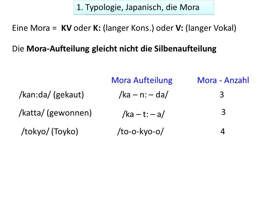Eine Mora = KV oder K: (langer Kons.) oder V: (langer Vokal) Mora - Anzahl /kan:da/ (gekaut)/ka – n: – da/3 /katta/ (gewonnen) /ka – t: – a/ 3 Mora Aufteilung Mora-timing (Japanisch) /tokyo/ (Toyko) /to-o-kyo-o/ 4 Die Mora-Aufteilung gleicht nicht die Silbenaufteilung 1.