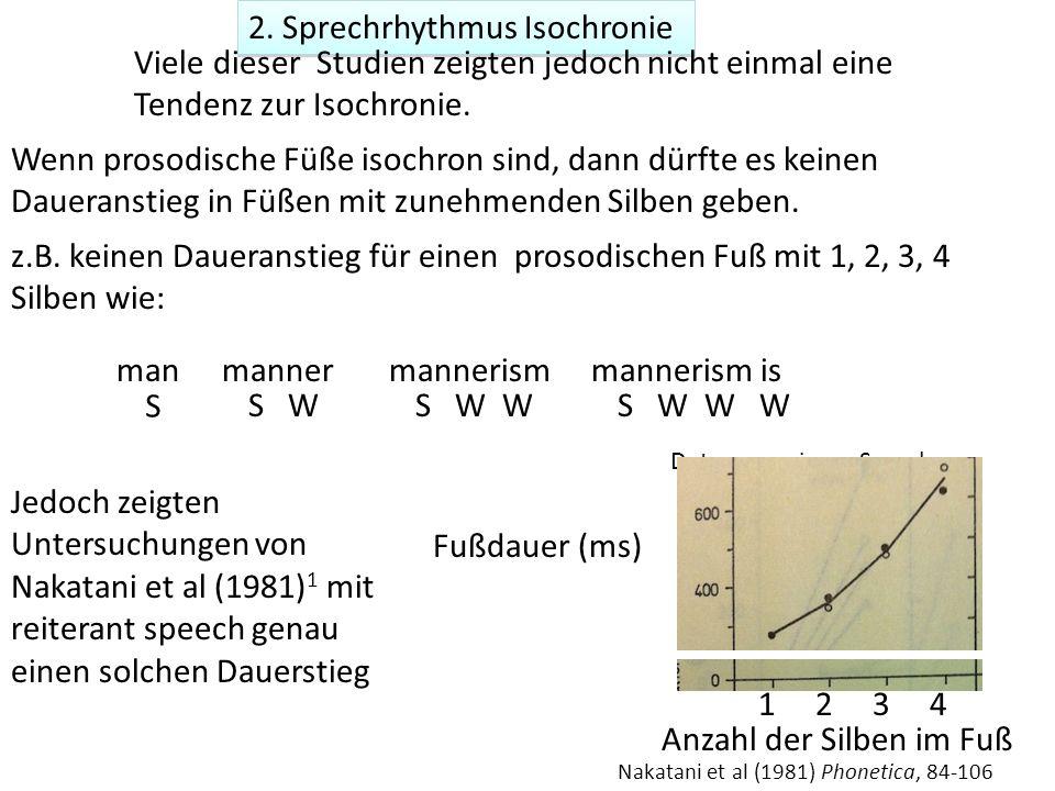 2. Sprechrhythmus Isochronie Daten von einem Sprecher Nakatani et al (1981) Phonetica, 84-106 Viele dieser Studien zeigten jedoch nicht einmal eine Te