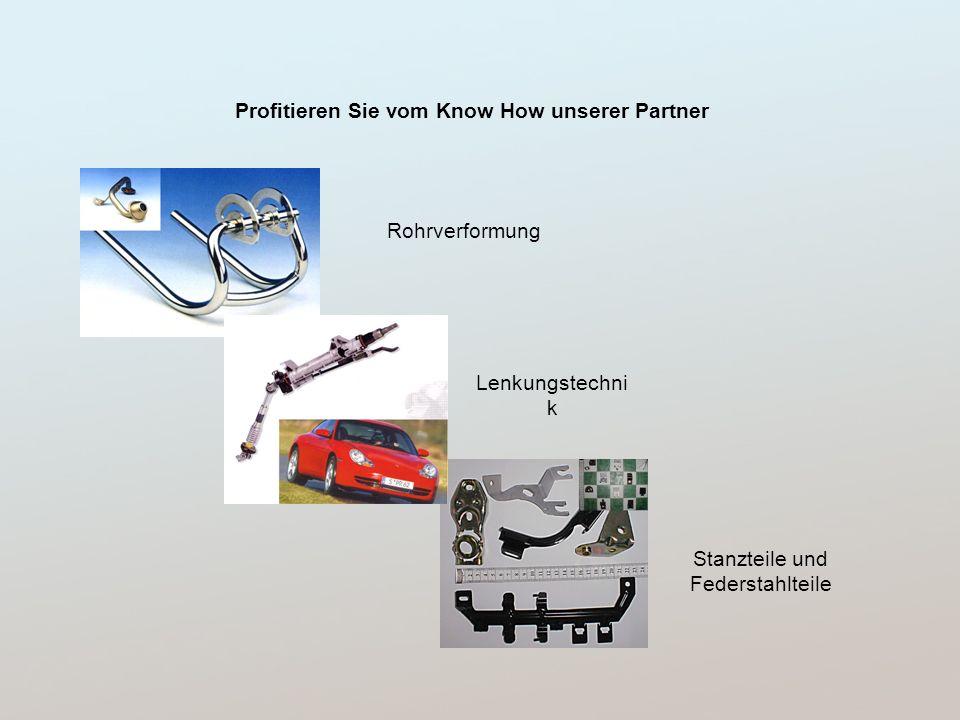 Profitieren Sie vom Know How unserer Partner Rohrverformung Stanzteile und Federstahlteile Lenkungstechni k