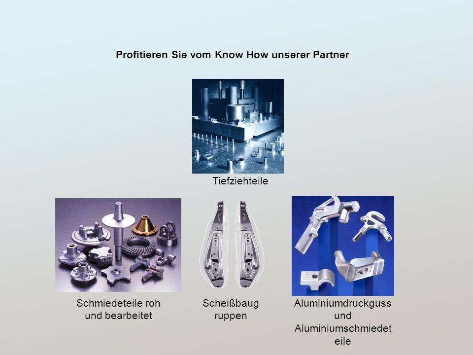 Tiefziehteile Schmiedeteile roh und bearbeitet Profitieren Sie vom Know How unserer Partner Aluminiumdruckguss und Aluminiumschmiedet eile Scheißbaug ruppen
