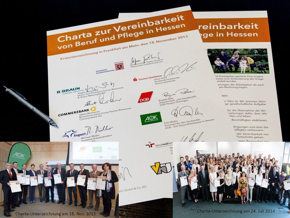 Gefördert aus Mitteln des Europäischen Sozialfonds und des Landes Hessen Mitinitiatoren/Kooperationspartner Foto: berufundfamilie gGmbH Charta-Unterzeichnung am 18.