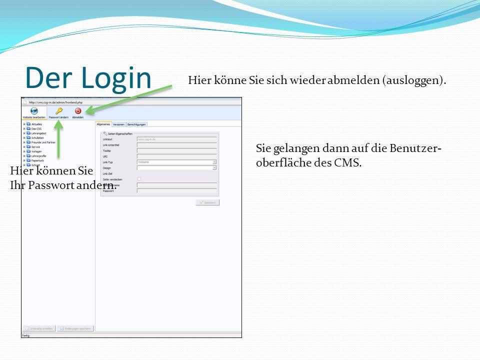 Der Login Sie gelangen dann auf die Benutzer- oberfläche des CMS.