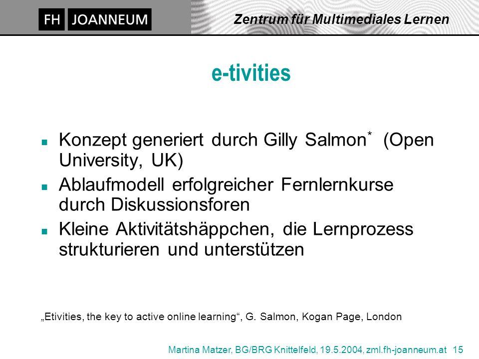 Martina Matzer, BG/BRG Knittelfeld, 19.5.2004, zml.fh-joanneum.at 15 Zentrum für Multimediales Lernen e-tivities Konzept generiert durch Gilly Salmon