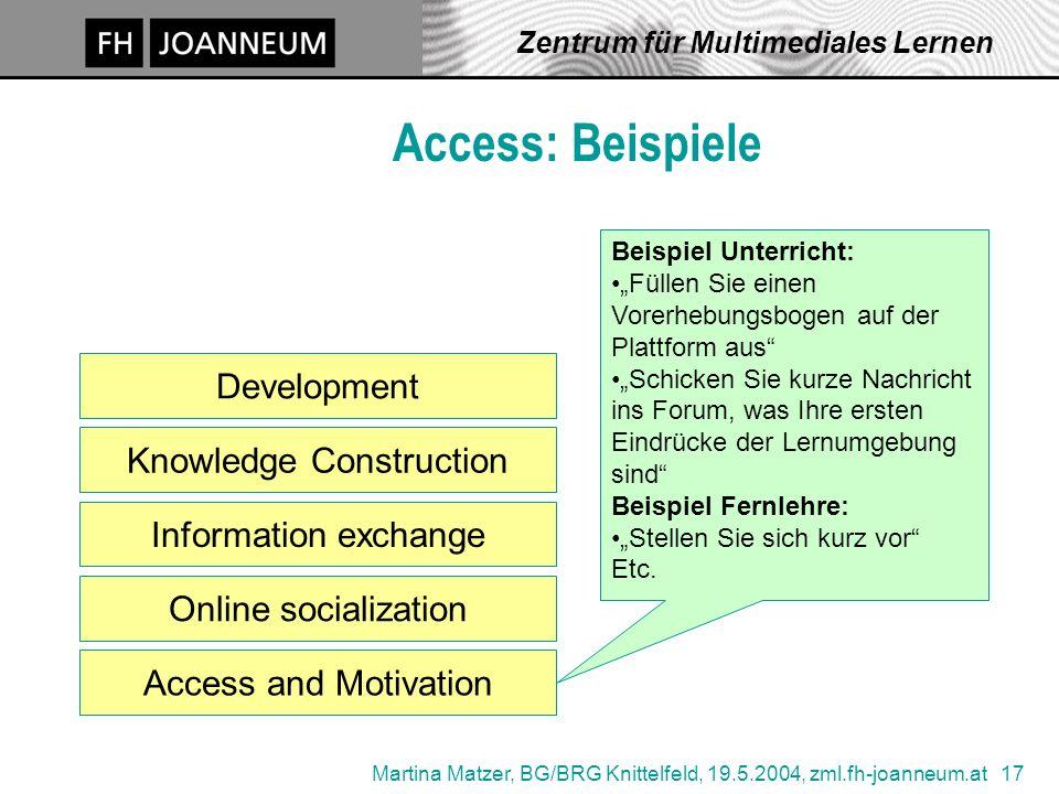 Martina Matzer, BG/BRG Knittelfeld, 19.5.2004, zml.fh-joanneum.at 17 Zentrum für Multimediales Lernen Access: Beispiele Access and Motivation Developm
