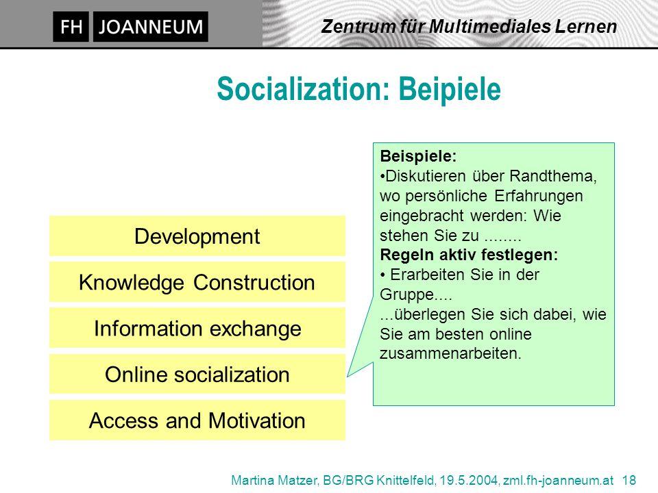 Martina Matzer, BG/BRG Knittelfeld, 19.5.2004, zml.fh-joanneum.at 18 Zentrum für Multimediales Lernen Socialization: Beipiele Access and Motivation De