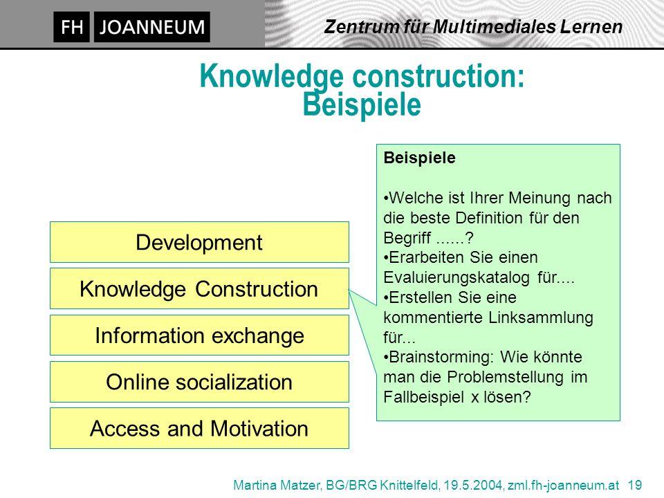 Martina Matzer, BG/BRG Knittelfeld, 19.5.2004, zml.fh-joanneum.at 19 Zentrum für Multimediales Lernen Knowledge construction: Beispiele Access and Mot