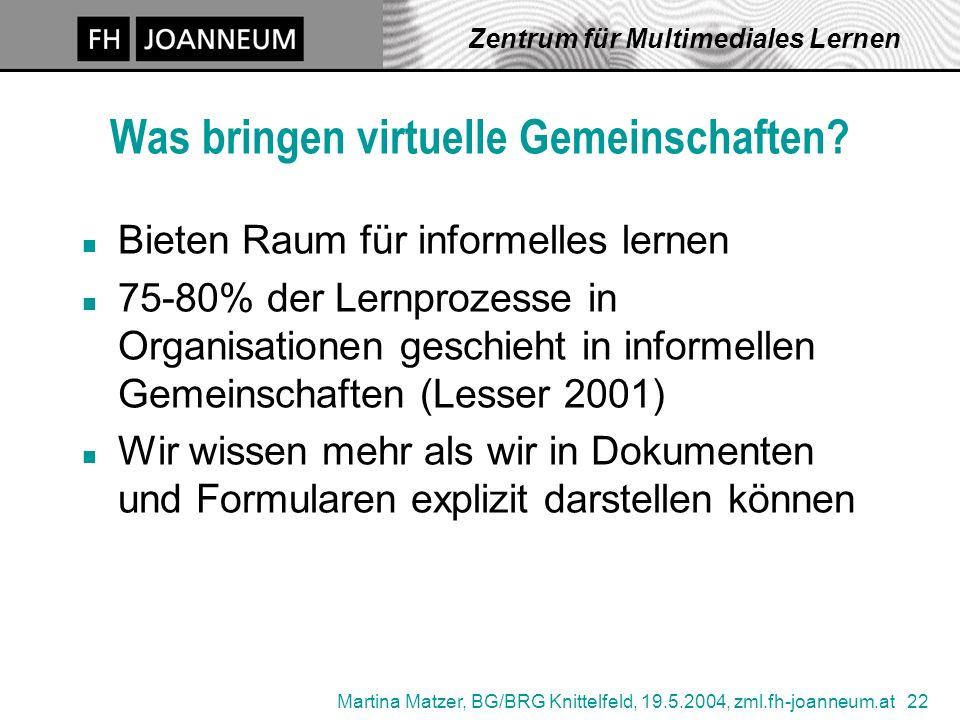 Martina Matzer, BG/BRG Knittelfeld, 19.5.2004, zml.fh-joanneum.at 22 Zentrum für Multimediales Lernen Was bringen virtuelle Gemeinschaften.