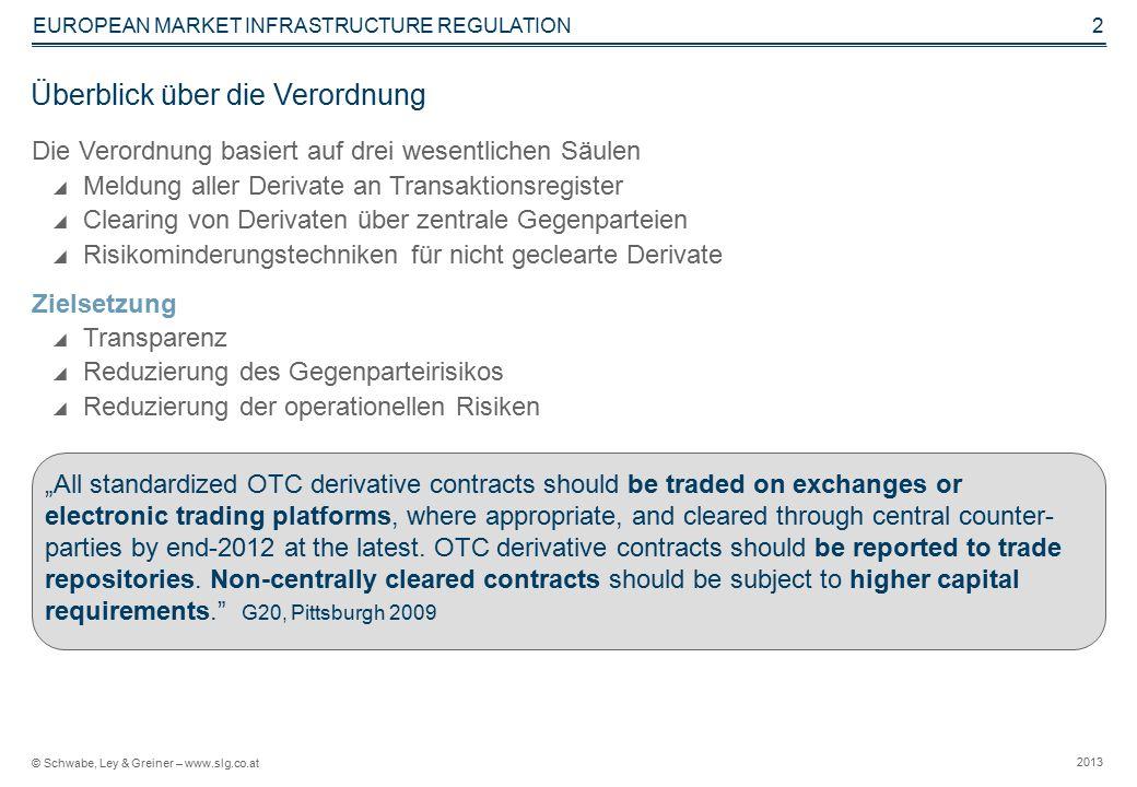 © Schwabe, Ley & Greiner – www.slg.co.at 2013 EUROPEAN MARKET INFRASTRUCTURE REGULATION 3 Meldepflicht an zentrale Transaktionsregister – obligat für alle Derivate.