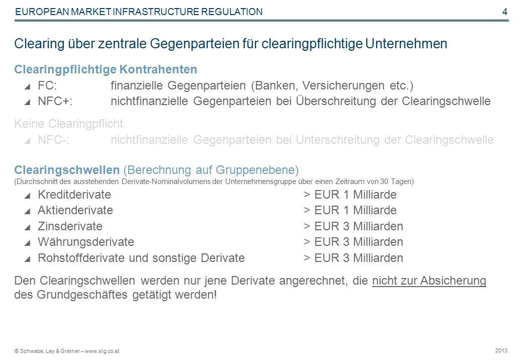 © Schwabe, Ley & Greiner – www.slg.co.at 2013 EUROPEAN MARKET INFRASTRUCTURE REGULATION 4 Clearing über zentrale Gegenparteien für clearingpflichtige Unternehmen Clearingpflichtige Kontrahenten  FC: finanzielle Gegenparteien (Banken, Versicherungen etc.)  NFC+: nichtfinanzielle Gegenparteien bei Überschreitung der Clearingschwelle Keine Clearingpflicht  NFC-: nichtfinanzielle Gegenparteien bei Unterschreitung der Clearingschwelle Clearingschwellen (Berechnung auf Gruppenebene) (Durchschnitt des ausstehenden Derivate-Nominalvolumens der Unternehmensgruppe über einen Zeitraum von 30 Tagen)  Kreditderivate> EUR 1 Milliarde  Aktienderivate > EUR 1 Milliarde  Zinsderivate> EUR 3 Milliarden  Währungsderivate > EUR 3 Milliarden  Rohstoffderivate und sonstige Derivate> EUR 3 Milliarden Den Clearingschwellen werden nur jene Derivate angerechnet, die nicht zur Absicherung des Grundgeschäftes getätigt werden!