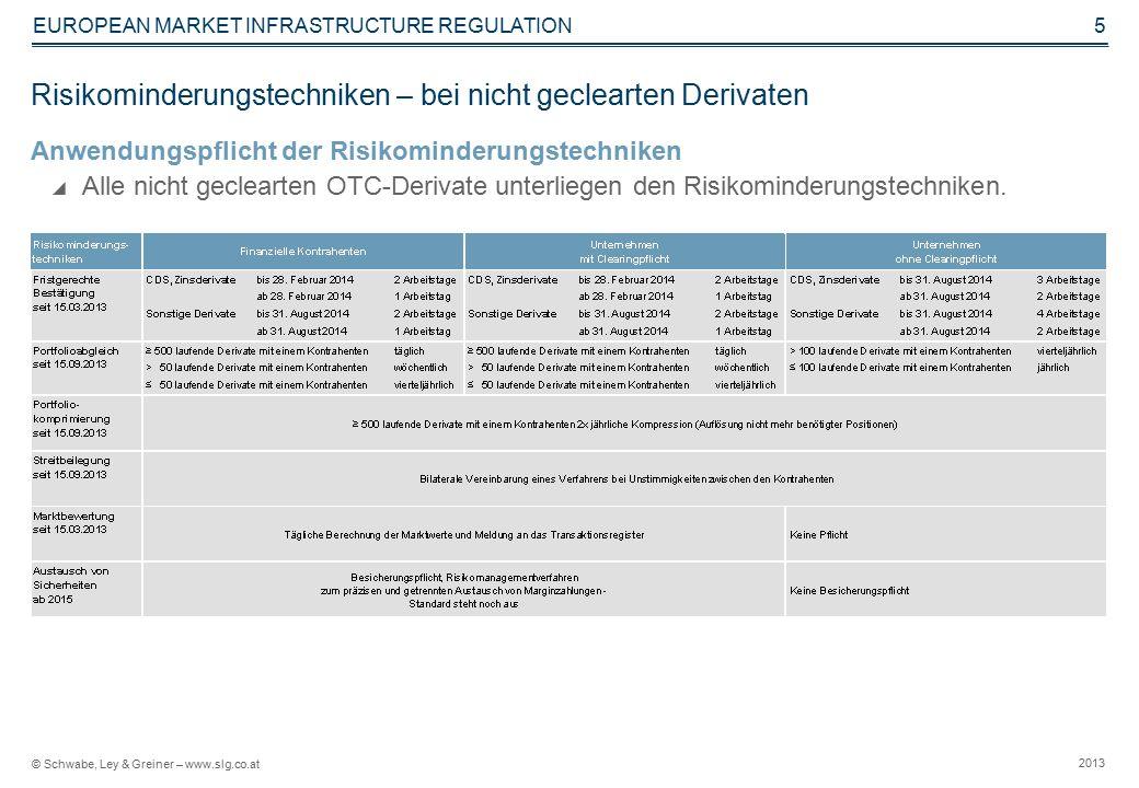 © Schwabe, Ley & Greiner – www.slg.co.at 2013 EUROPEAN MARKET INFRASTRUCTURE REGULATION 5 Risikominderungstechniken – bei nicht geclearten Derivaten Anwendungspflicht der Risikominderungstechniken  Alle nicht geclearten OTC-Derivate unterliegen den Risikominderungstechniken.