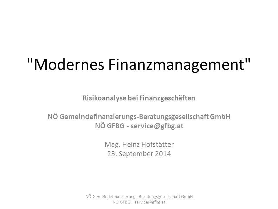 Modernes Finanzmanagement Risikoanalyse bei Finanzgeschäften NÖ Gemeindefinanzierungs-Beratungsgesellschaft GmbH NÖ GFBG - service@gfbg.at Mag.